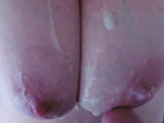 After a tit fuck session a cum shot on my big tits.