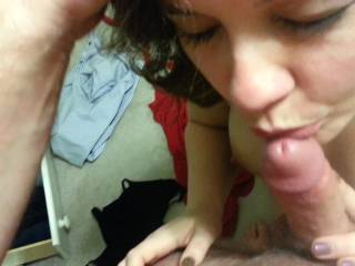 Licking dick cum