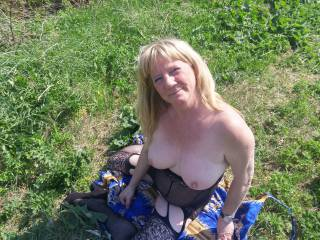 Joanne showing her wonderful boobs in a field