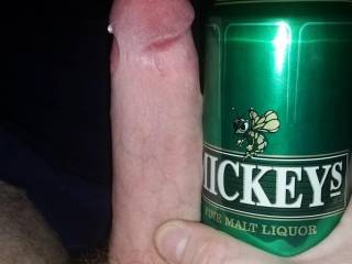 Hard cock and a tall can