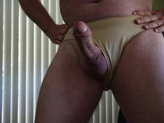 Something about wearing silk panties that brings out the best in an uncut cock.  Like it?