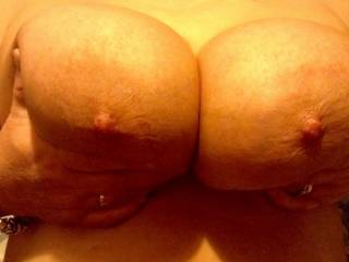 My sexy wife showing me just how big her boobs are and hope you all think the same