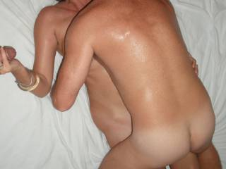 Fucked deep and hard by our swinger friend, whilst I play with my Hubby's lovely smooth thick cock.
