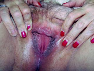 Wife showing her wet pussy for the camera