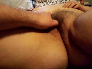 Playing with my wife's hairy pussy