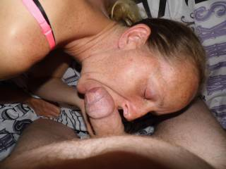 Joanne likes to give me a blowjob