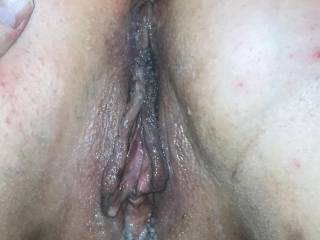 Little cum after bbc fucked my wife. Who wants to help make it messy?
