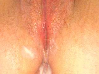 Pic for the cuckold hubby before he gets to eat my cum from his wife's holes then jerk into her used panties but not her pussy.